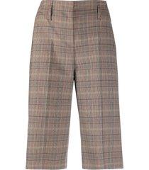 luisa cerano high-rise check bermuda shorts - brown