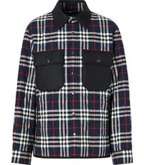 burberry quilted checked shirt jacket - blue