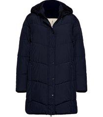 coat outerwear heavy gevoerde lange jas blauw brandtex