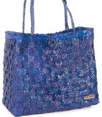 bolsa tote-shopper palha natural  forro tecido praia azul