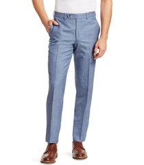 saks fifth avenue men's collection wool, silk & linen woven suit pants - blue - size 36 r