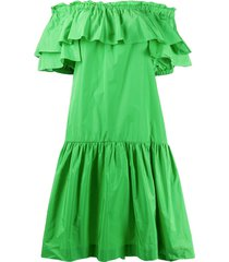 p.a.r.o.s.h. off the shoulder tiered dress - green