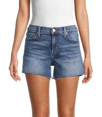 hudson women's gracie mid-rise faded denim shorts - queensland - size 24 (0)