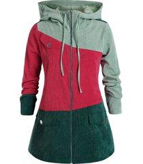 plus size colorblock corduroy hooded zip up jacket