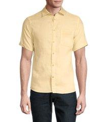 saks fifth avenue men's short-sleeve linen shirt - sunny - size m
