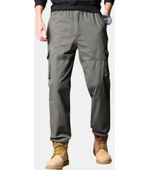mens 100% cotone traspirante casual multi-tasca di colore solido militare carico pantaloni