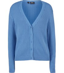 cardigan boyfriend in maglia a coste (blu) - bpc bonprix collection