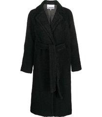 ganni belted mid-length coat - black