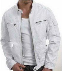 handmade new men stylish unique white leather jacket, men leather jacket