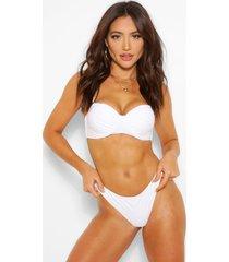 geplooide bikini top met beugel, wit