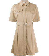 p.a.r.o.s.h. cyber flared shirt dress - neutrals