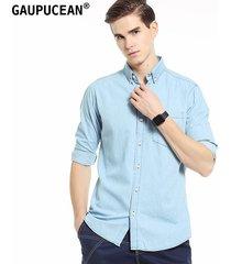 camisa manga larga gaupucean para hombre-azul claro