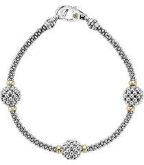 lagos 'caviar forever' ball station bracelet, size medium in silver/gold at nordstrom