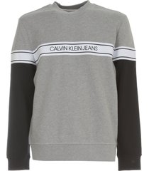 calvin klein jeans logo tape crew neck sweater