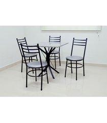 conjunto cozinha sevilha 0,75 com granito c/4 cadeiras vitoria açomix