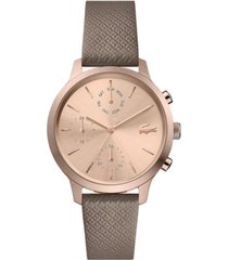 lacoste women's chronograph taupe leather strap watch 36mm