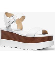 mk sandalo flatform marlon in pelle - bianco ottico (bianco) - michael kors