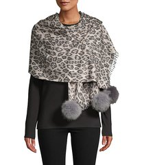 animal-print fox fur pom-pom wrap scarf