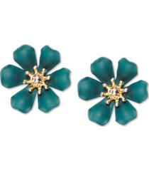 zenzii gold-tone & suede-painted-finish lily stud earrings