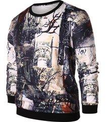 vintage tree print pullover sweatshirt