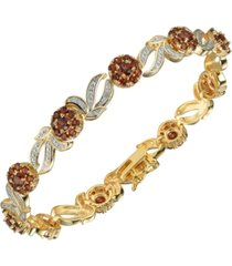 garnet (4 3/4 ct. t.w.) and diamond accent bracelet 18k gold over sterling silver