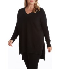adyson parker step hem tunic sweater, size 2x in black at nordstrom