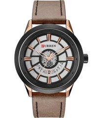 relógio curren analógico 8330  preto e marrom