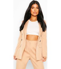petite fitted double breasted blazer, stone