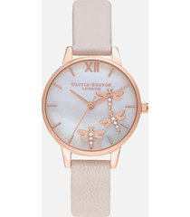 olivia burton women's dancing dragonfly blush dial watch - pearl pink & rose gold