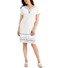 karen scott moira embroidered dress, created for macy's