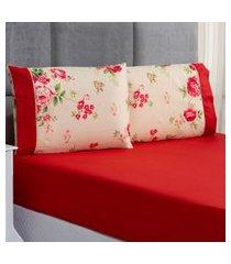 jogo de cama forest floral vermelho solteiro micropercal 200 fios 02 peças