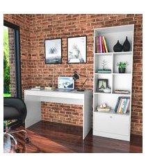 conjunto para escritório nova mobile mesa e livreiro 6 nichos