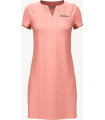 tommy hilfiger women's essential split-neck dress peach pearl - s