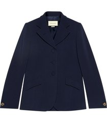 gucci cady viscose tailored jacket - blue