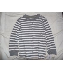 boy's carter's gray white striped thermal long sleeve shirt size 4t nwt