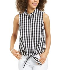 charter club petite sleeveless gingham button-front top, created for macy's