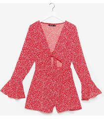 womens floral print tie front playsuit - red