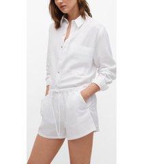 mango women's drawstring waist linen shorts