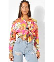oversized fruit en tegelprint shirt, pink