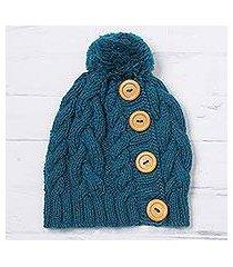 alpaca blend knit cap, 'cheery hug in turquoise' (peru)