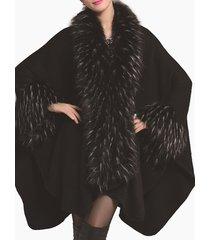 cappotto mantello con collo a scialle manica a pipistrello lavorato a maglia in pelliccia sintetica