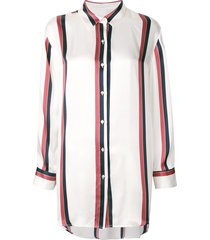 asceno bold stripe sleep shirt - white