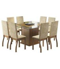 conjunto sala de jantar mesa c/ 8 cad. madesa milene marrom/bege