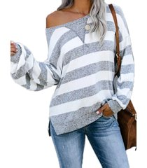 grey slit diseño stripe one top de punto de manga larga con hombros descubiertos