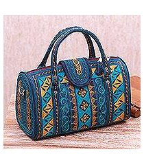 cotton handbag, 'teal sultanate' (11.5 inch) (indonesia)
