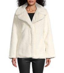 nvlt women's faux fur jacket - cream - size xs