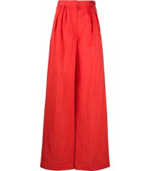 christian wijnants crinkle effect trousers - red