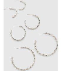 lane bryant women's twisted metal hoop earrings 3-pack onesz silvertone