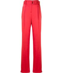 lapointe crinkle satin belted trousers - red
