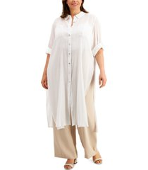 calvin klein plus size crinkle cotton button-front tunic